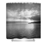 Sand Point Black And White  Shower Curtain