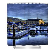 Sandpoint Marina And Power House Shower Curtain