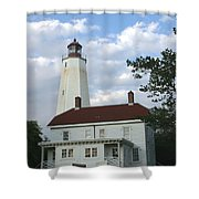 Sandy Hook Lighthouse And Building Shower Curtain