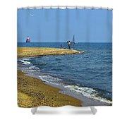 Sandy Point Fisherman Shower Curtain