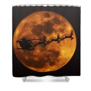 Santa Across The Sky Shower Curtain
