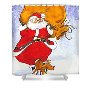 Santa And Rudolph Shower Curtain