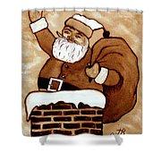 Santa Claus Gifts Original Coffee Painting Shower Curtain