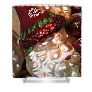 Santa Glass Ornament Shower Curtain
