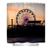 Santa Monica Pier Ferris Wheel Sunset Shower Curtain by Paul Velgos