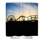 Santa Monica Pier Sunset Photo Shower Curtain by Paul Velgos