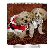 Santa Puppies Shower Curtain