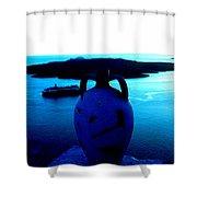 Santorini By Night Greece Shower Curtain