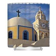 Santorini Church Shower Curtain
