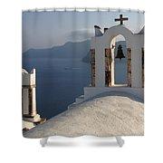 Santorini Churches Shower Curtain