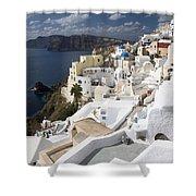 Santorini Hillside Shower Curtain