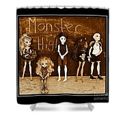 Sarah's Monster High Collection Sepia Shower Curtain