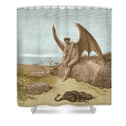 Satan Finding Serpent, By Dore Shower Curtain