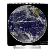 Satellite Image Of Earth Centered Shower Curtain by Stocktrek Images