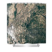 Satellite Image Of Flood Waters Shower Curtain