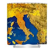 Satellite Image Of Italy Shower Curtain