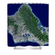 Satellite Image Of Oahu, Hawaii Shower Curtain