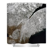 Satellite View Of A Frosty Landscape Shower Curtain by Stocktrek Images