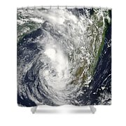 Satellite View Of Cyclone Giovanna Shower Curtain