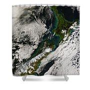 Satellite View Of New Zealand Shower Curtain