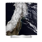 Satellite View Of Northeast Japan Shower Curtain by Stocktrek Images