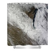 Satellite View Of Snow And Cold Shower Curtain