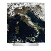 Satellite View Of Snow In Italy Shower Curtain