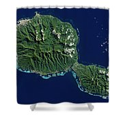 Satellite View Of Tahiti Shower Curtain