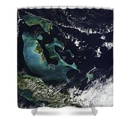 Satellite View Of The Bahama Islands Shower Curtain