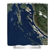Satellite View Of The Croatian Islands Shower Curtain