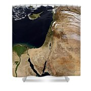 Satellite View Of The Middle East Shower Curtain