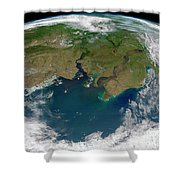 Satellite View Of The Ob And Yenisei Shower Curtain
