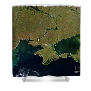 Satellite View Of The Ukraine Coast Shower Curtain by Stocktrek Images