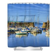 Saundersfoot Boats Painted Shower Curtain