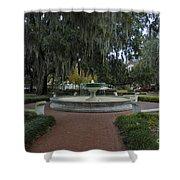 Savannah Square And Fountain Shower Curtain