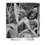 Scarecrow In The Corn Black And White Shower Curtain