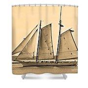 Scenic Schooner - Sepia Shower Curtain