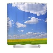 Scenic View Of Meadow And Canola Crop Shower Curtain