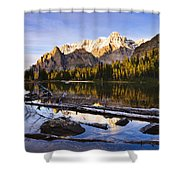 Schaffer Lake And Mount Huber Shower Curtain