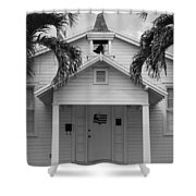 School House In Black And White Shower Curtain