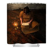 Schoolgirl Sitting On Wood Floor Reading By Candlelight Shower Curtain