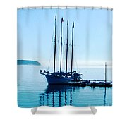 Schooner At Dock Bar Harbor Me Shower Curtain