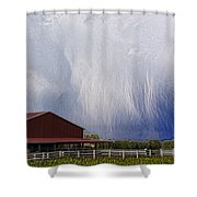 Scifi Storm And Red Barn Shower Curtain