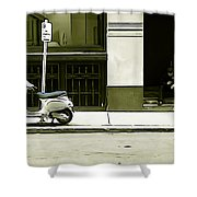 Scooter And Man - Illustration Conversion Shower Curtain