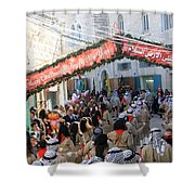 Scouts Marching During Christmas Parade In Bethlehem Shower Curtain