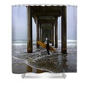 Scripps Pier Surfer 2 Shower Curtain by Bob Christopher
