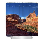 Scripture And Picture Romans 8 37  Shower Curtain by Ken Smith
