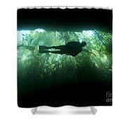 Scuba Diver In The Cavern Part Shower Curtain by Karen Doody