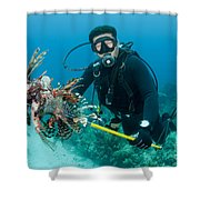 Scuba Diver With Spear Of Invasive Shower Curtain