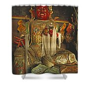Sculpture Of Wrathful Protective Deity Shower Curtain